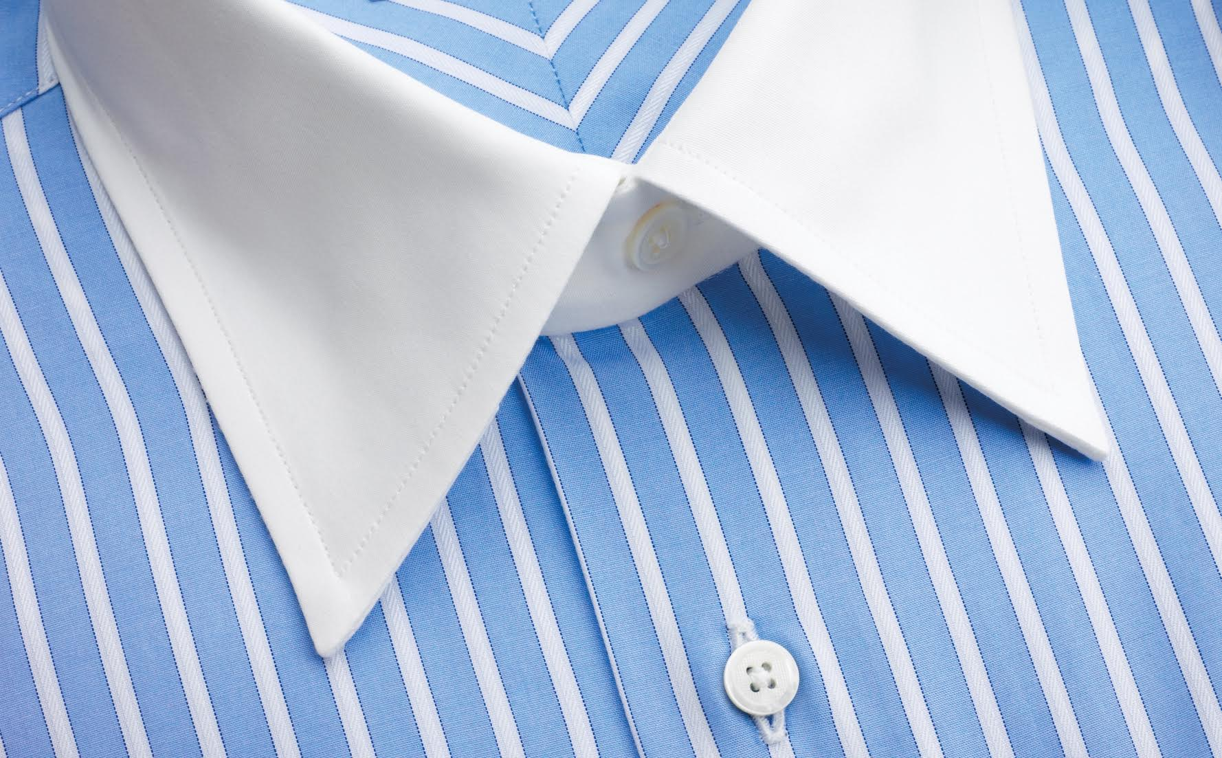 Contrast color cuffs and collars for Blue and white striped shirt with white collar